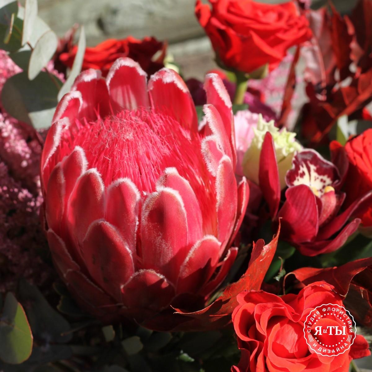 Красно-розовый букет с протеей
