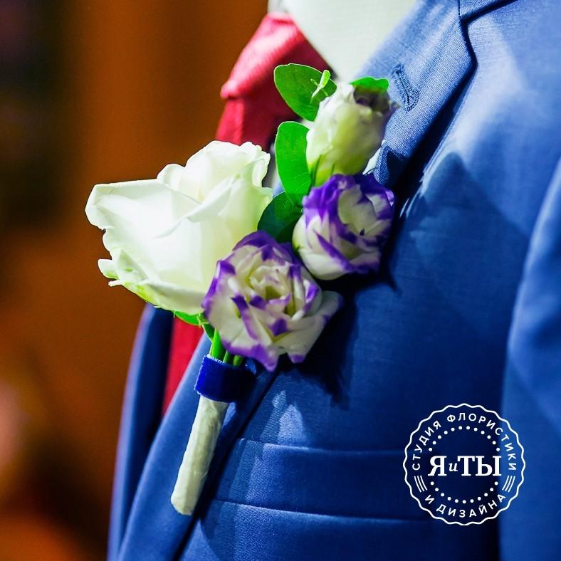 Весенний свадебный букет с ирисами и гиацинтами