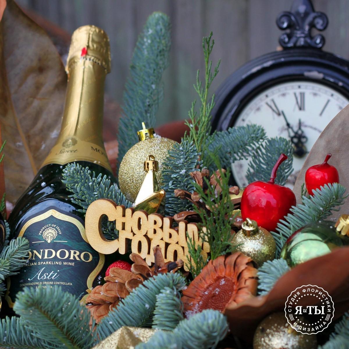 Декоративный ящик с шампанским