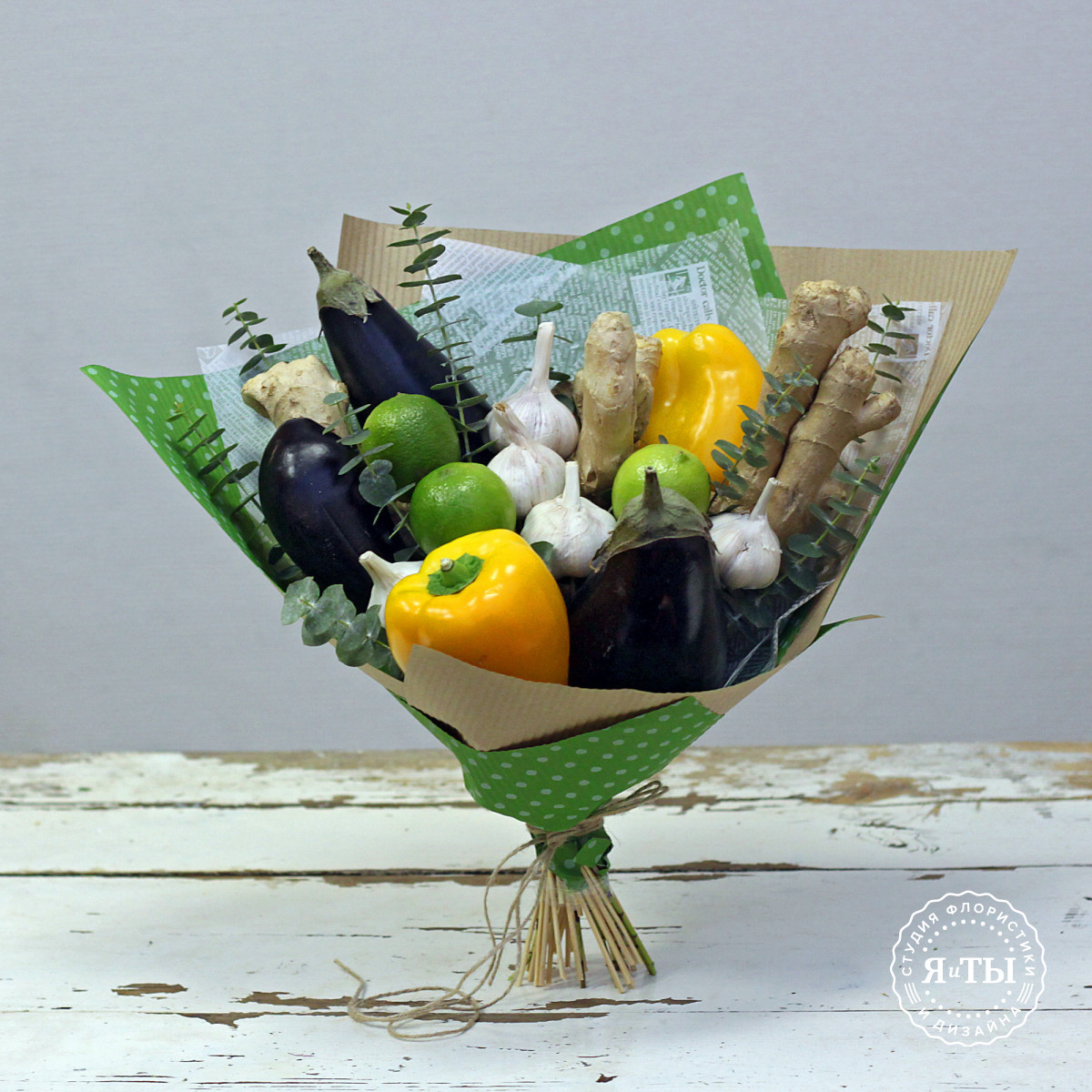 Овощной букет с перцами и баклажанами