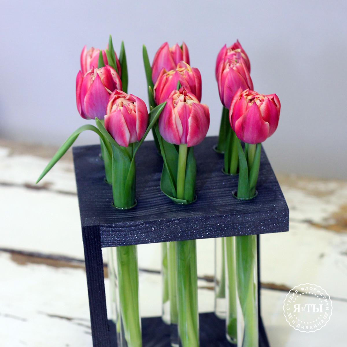 Тюльпаны в колбах (9 штук)