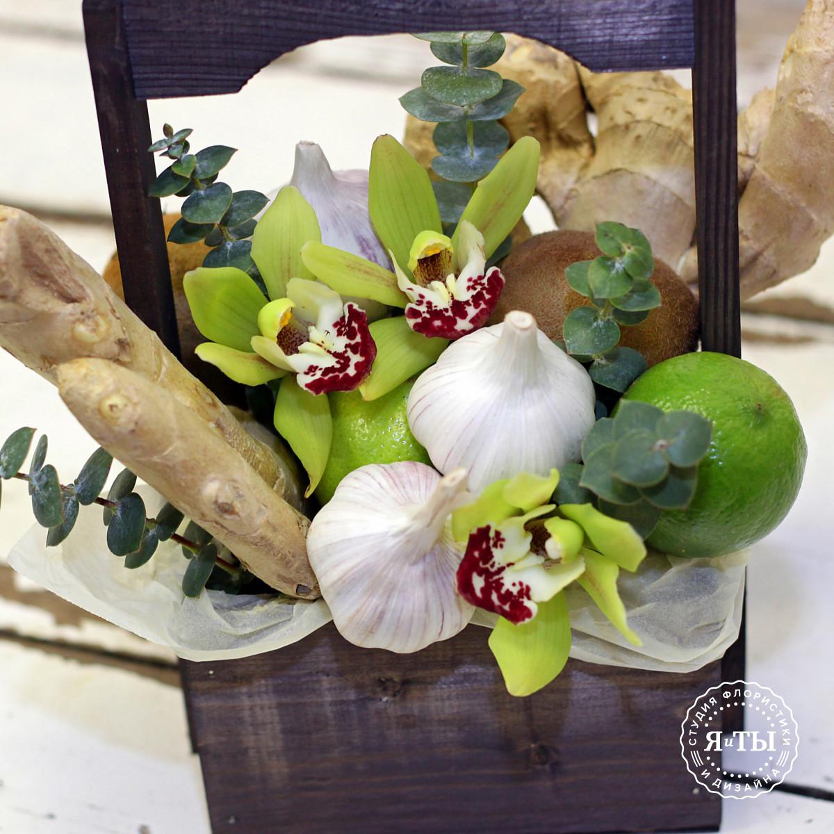 Овощной ящичек с орхидеями и имбирём