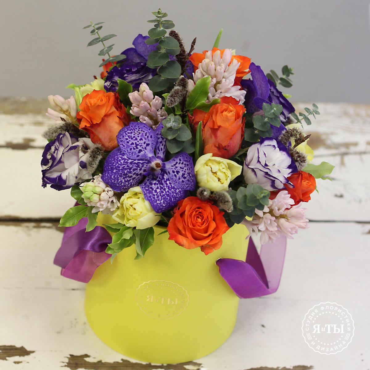 Ароматная коробочка с гиацинтами и орхидеями