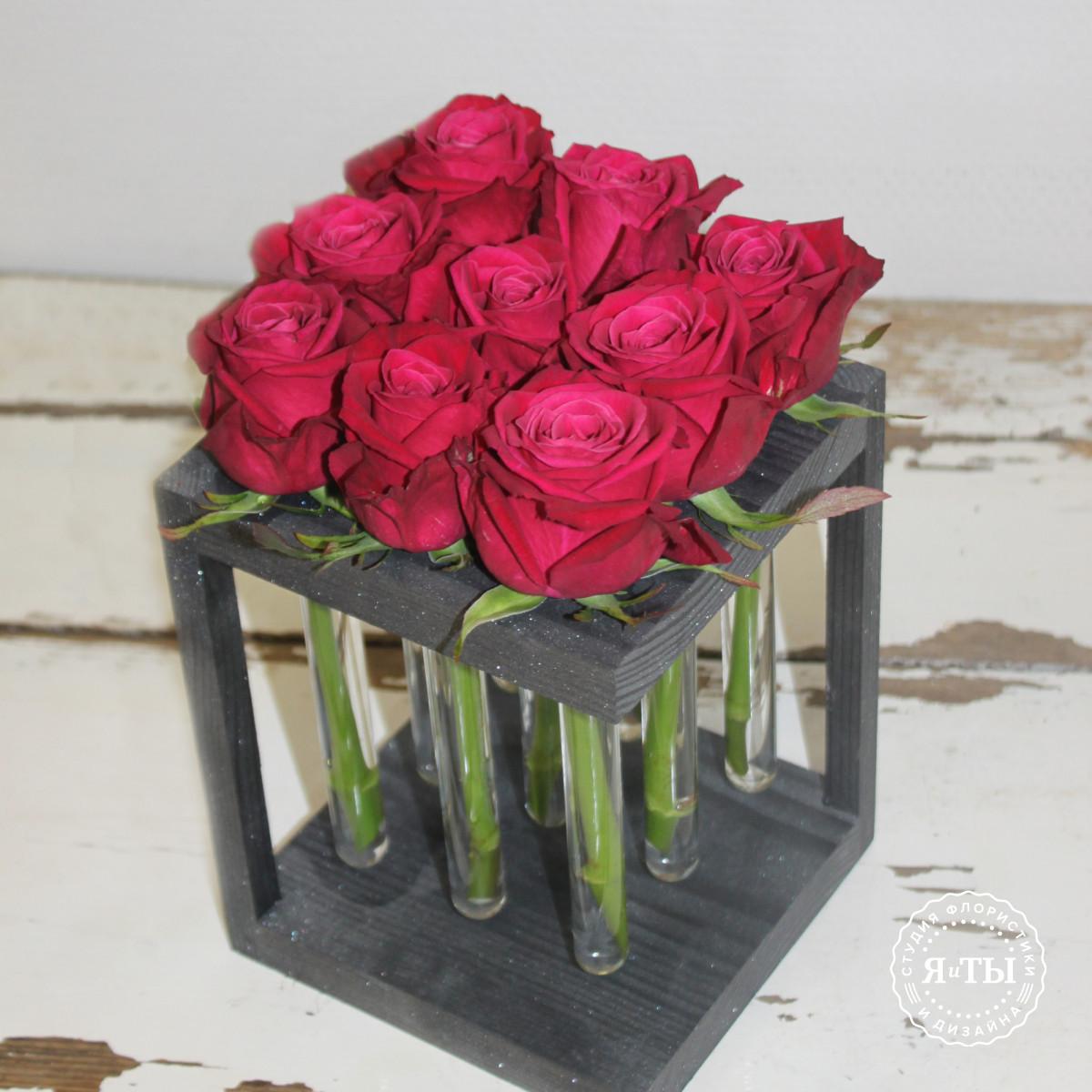 Розы в колбах (9штук)