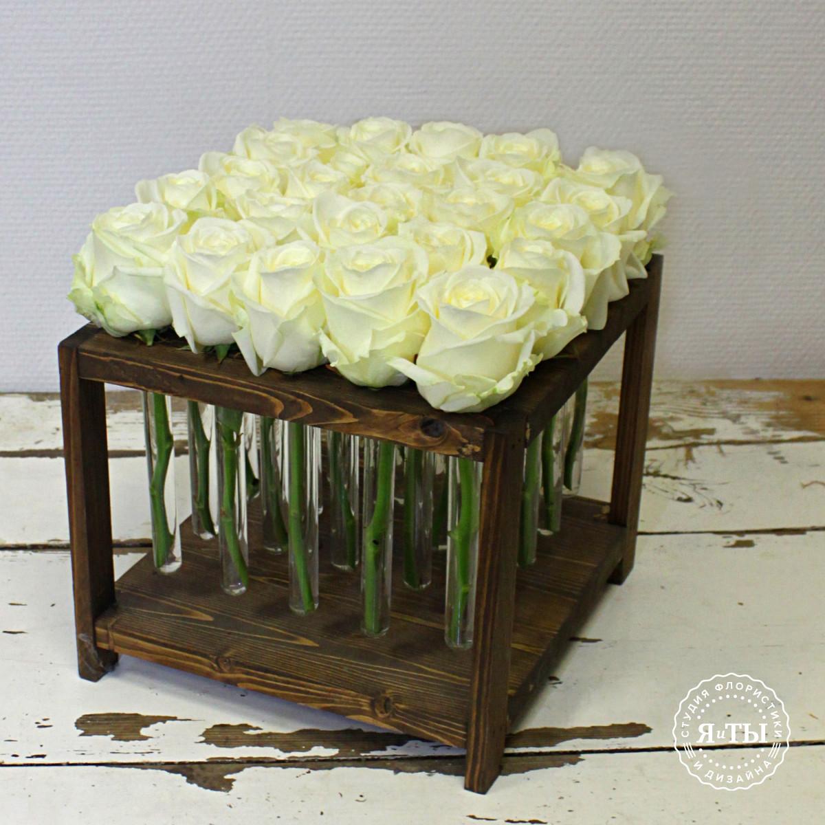 Розы в колбах (25 штук)