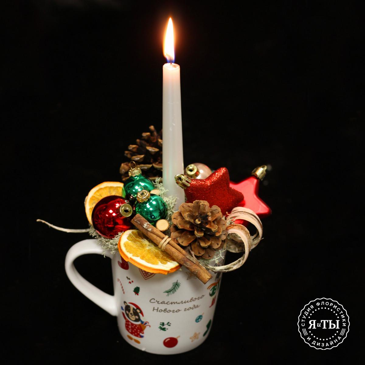 Композиция в большой чашке со свечой